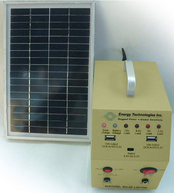 Battery & control unit with solar panel